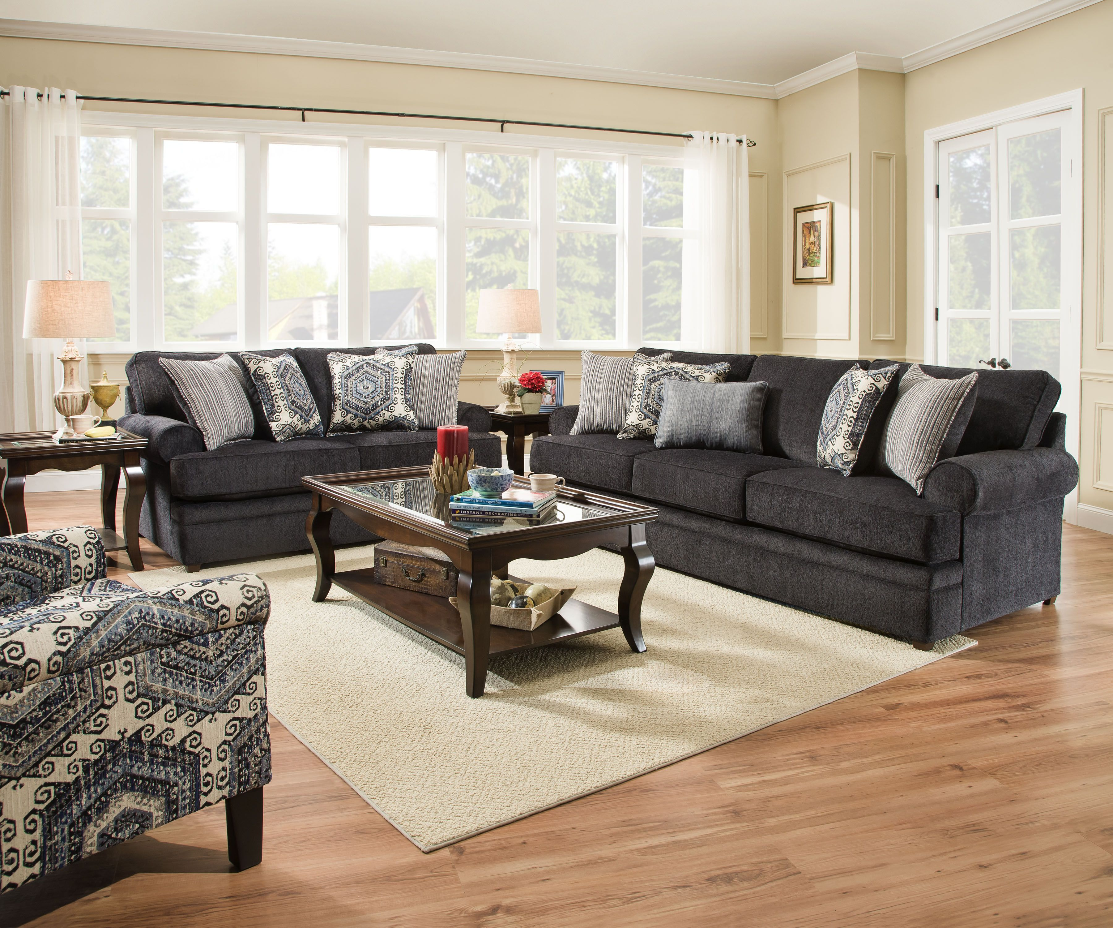 Bellamy Slate Sofa And Love Seat Beautyrest By Simmons With Pocket Coil  Cushions Includes Toss Pillows