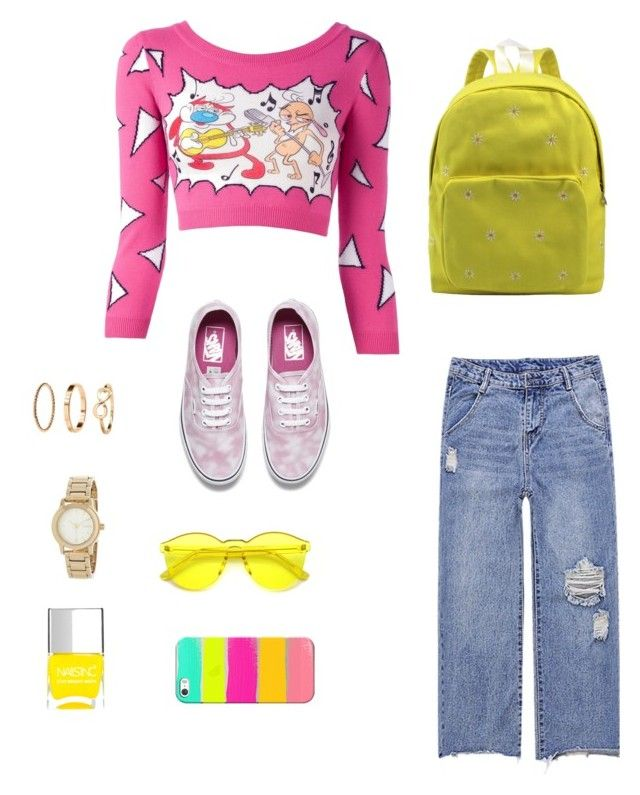 """#pink #yellow"" by shadipzh ❤ liked on Polyvore featuring Jeremy Scott, Vans, H&M, DKNY, Nails Inc. and Casetify"