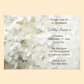 White Hydrangea Sweet 16 Birthday Party Invitation - A simple floral design to celebrate this sepcial day.