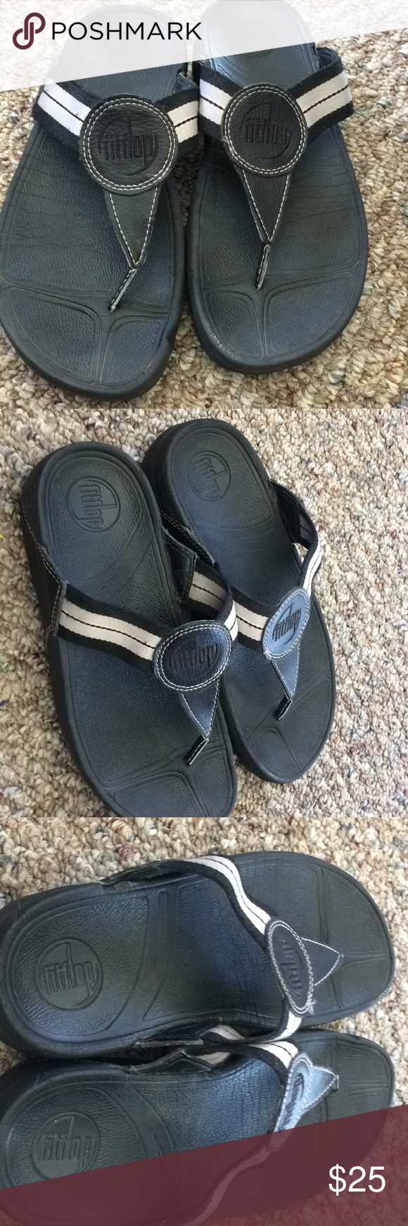 3fb24188f35f87 Fitflop women s flip flops size 7 These are in great condition. Black with  white stripes on the straps with light pink accents. They are size 7.