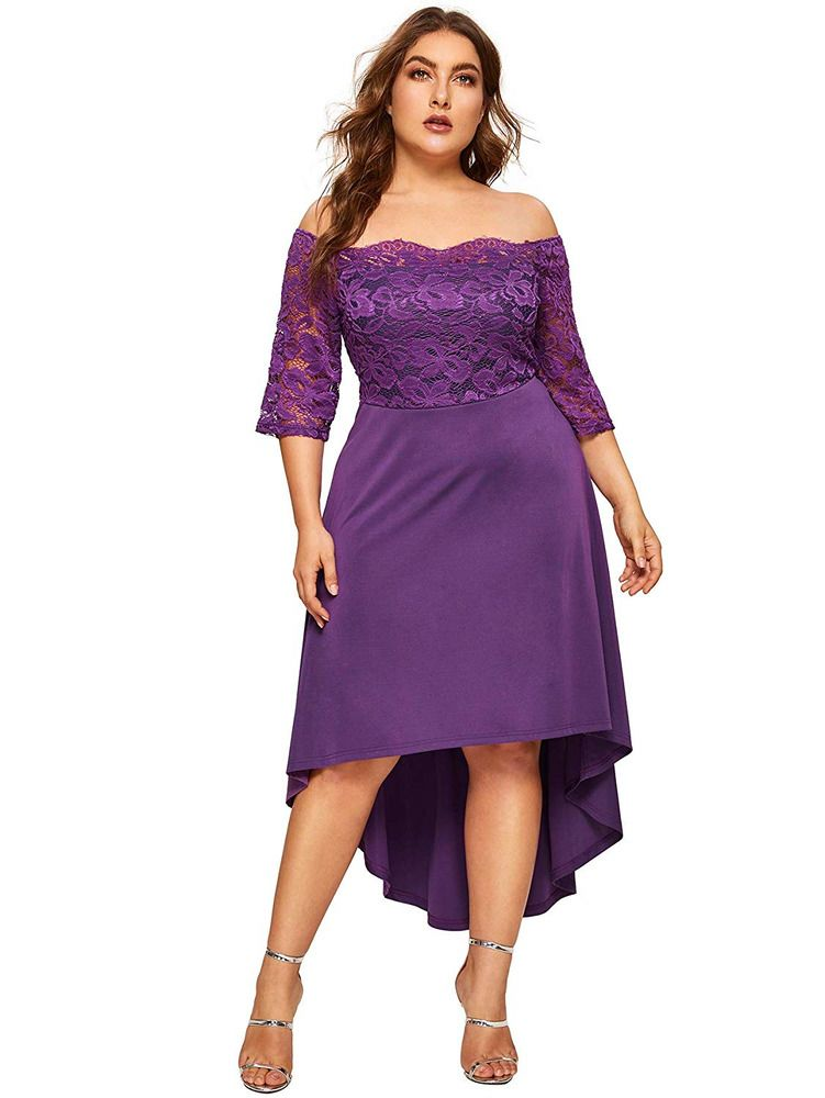 a41eb53d79c Floerns Women s Plus Size Vintage Lace Dip High Low Cocktail Party  fashion   clothing