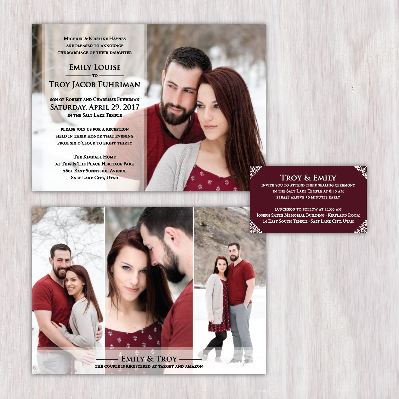 photo wedding invitation text overlay photo collage embellished