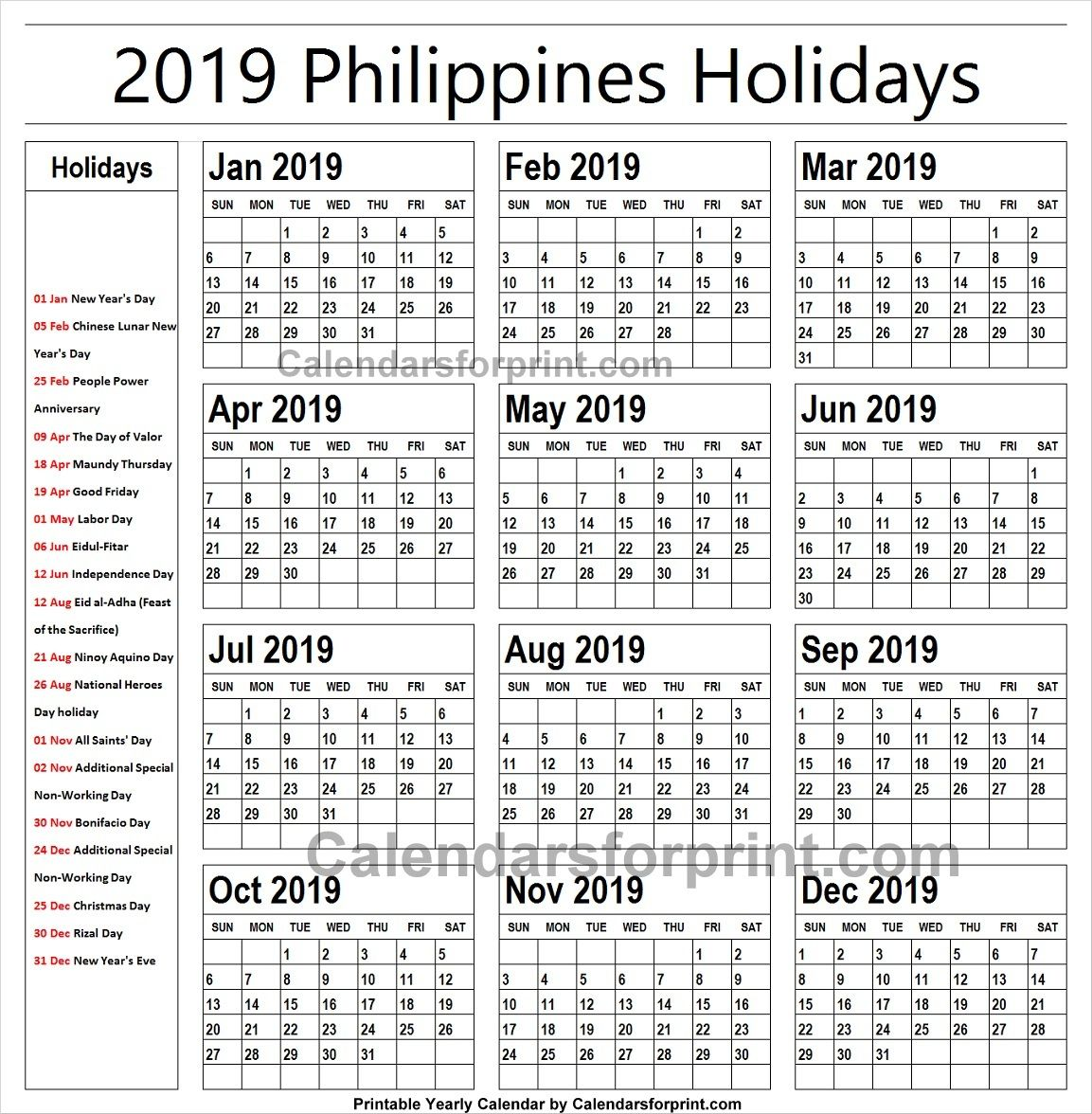2019 Calendar With Holidays Philippines Printable Holiday
