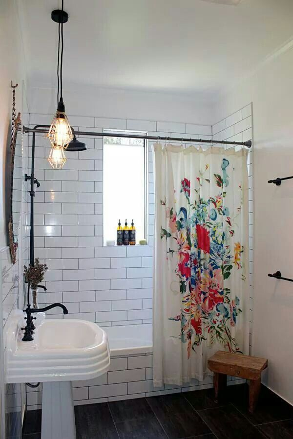 Love this bathroom design with white subway