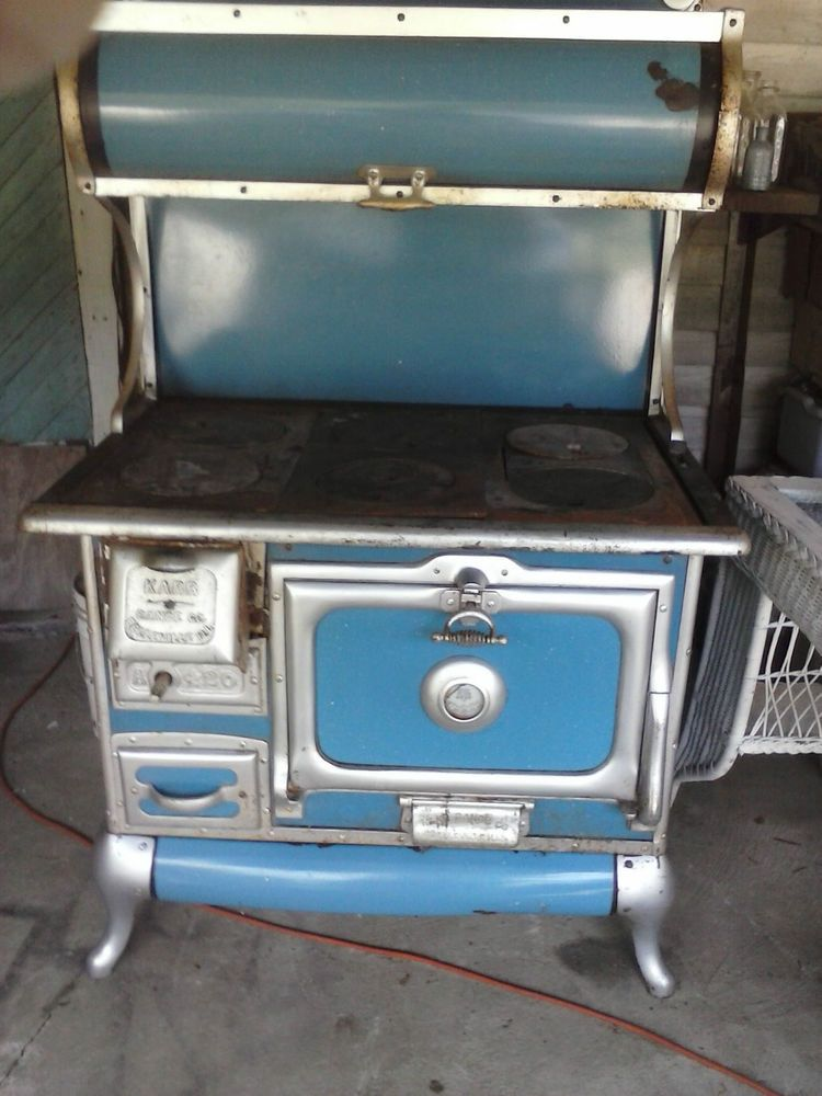 Antique Karr Wood Stove Cook Laundry Stove Blue Silver