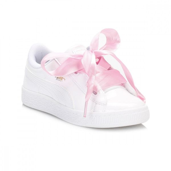 1ad91e525e Junior White Basket Heart Patent Trainers (900 MXN) ❤ liked on ...
