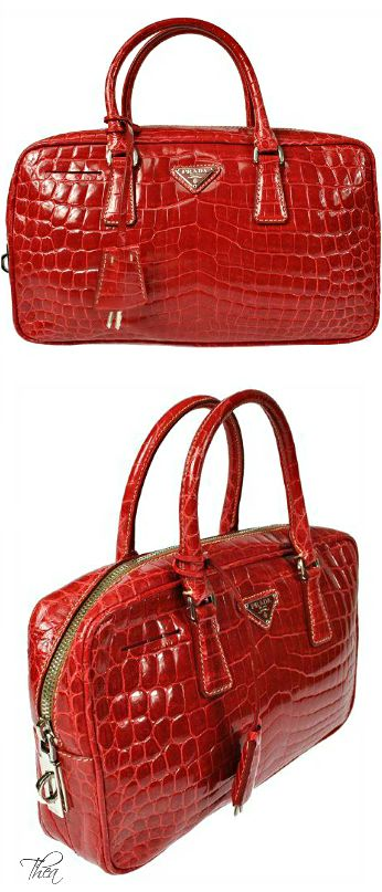 95c47aaf98 Vintage Prada ○ Logos Red Crocodile Bag