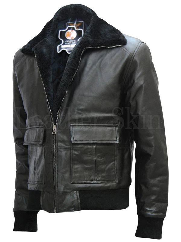 Mens Big And Tall Black Bomber Fur Lined 100 Leather