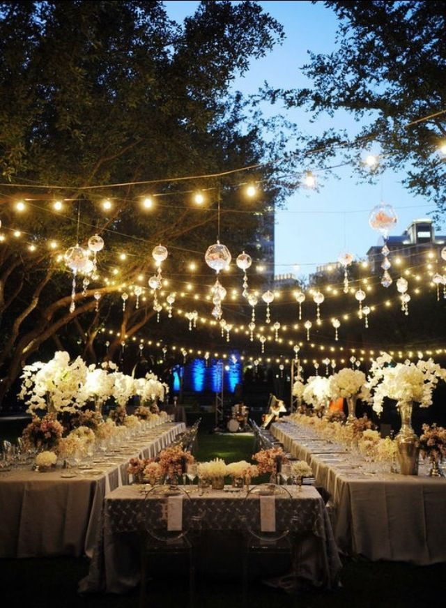 Outdoor Wedding Reception Setup Simple Openair Lanterns