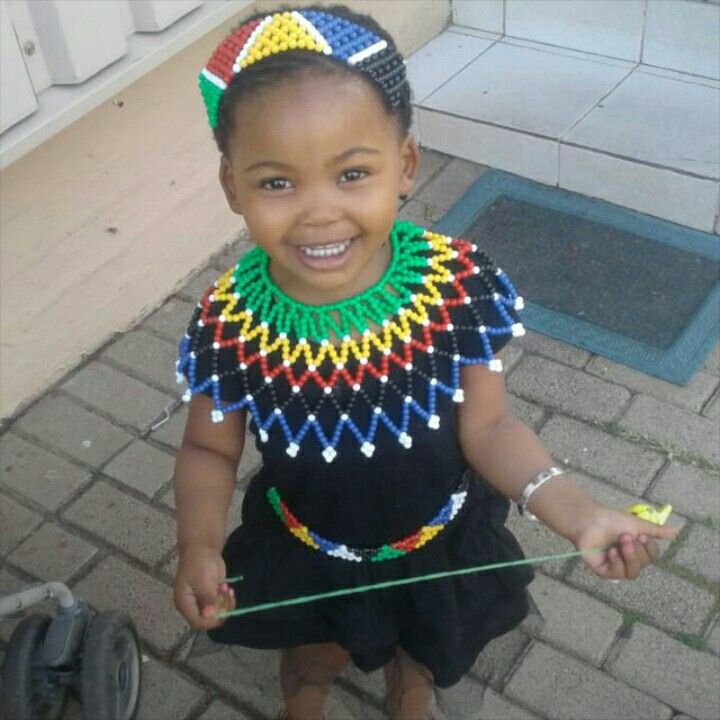 636fe298f Little girl in Zulu attire Zulu Traditional Attire, Xhosa, African Prints,  African Fashion