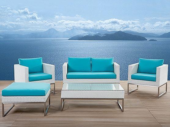 Lounge Set Rattan weiss 5-Sitzer Auflagen türkis CREMA | Pinterest ...