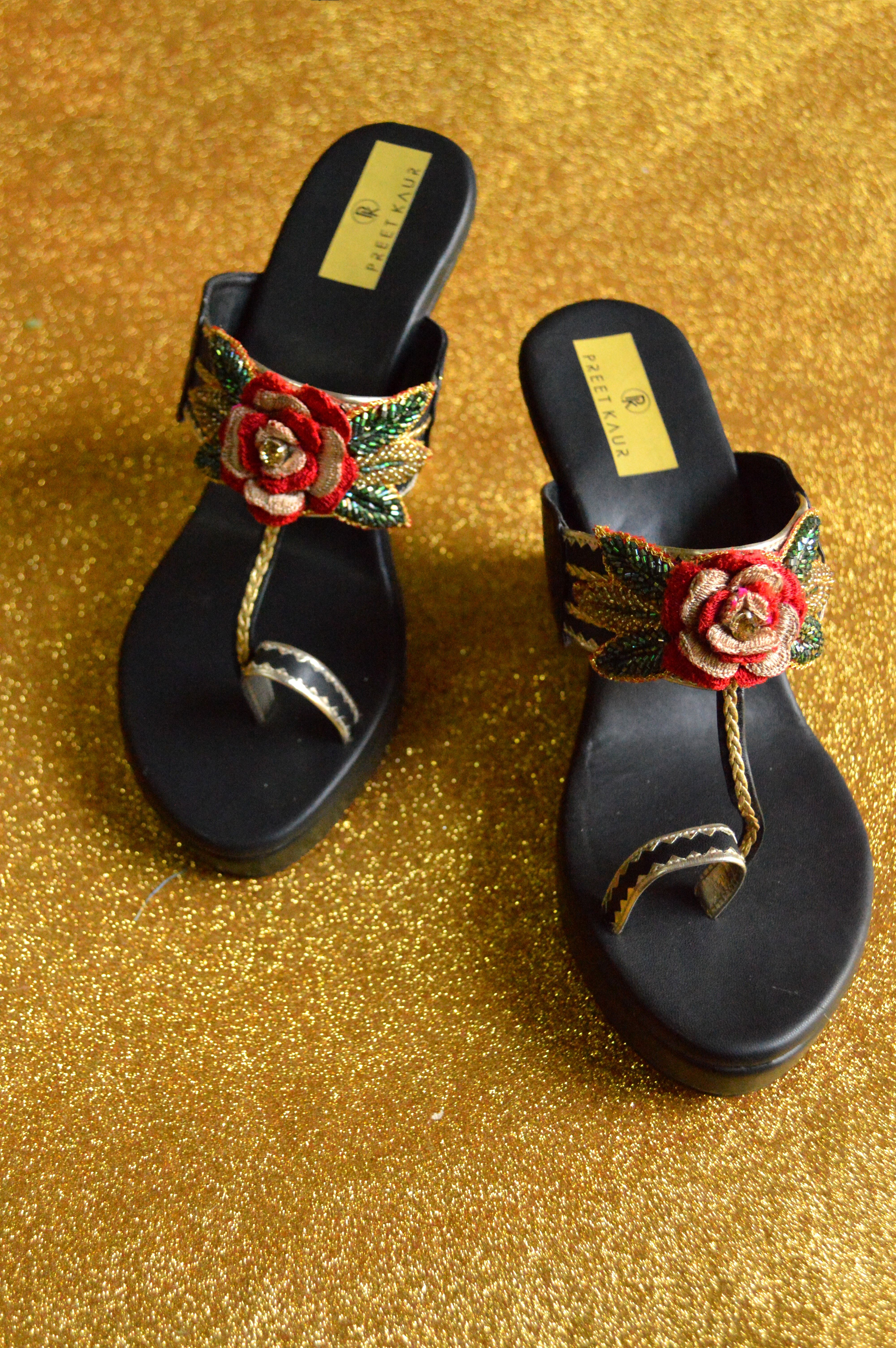 570333f94e25 These Black Heels Are Made Of Faux Leather And Embellished With Hand  Embroidery Work By Designer Preet Kaur. Our Bridal Sandals High Heels Will  Steal The ...