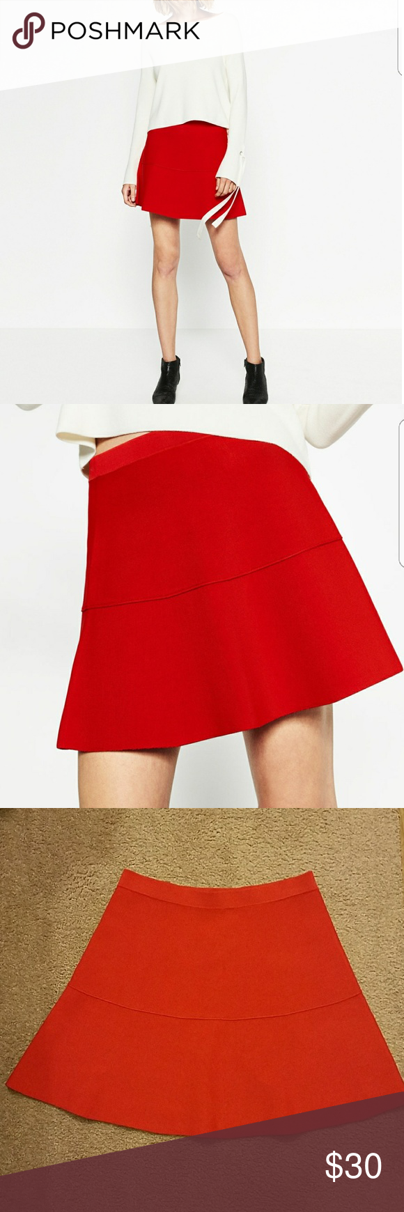 a62f826c8 Zara A-line knit skirt Very cute red mini skirt. You can see stitches  overall because it is a knit. Zara Skirts A-Line or Full