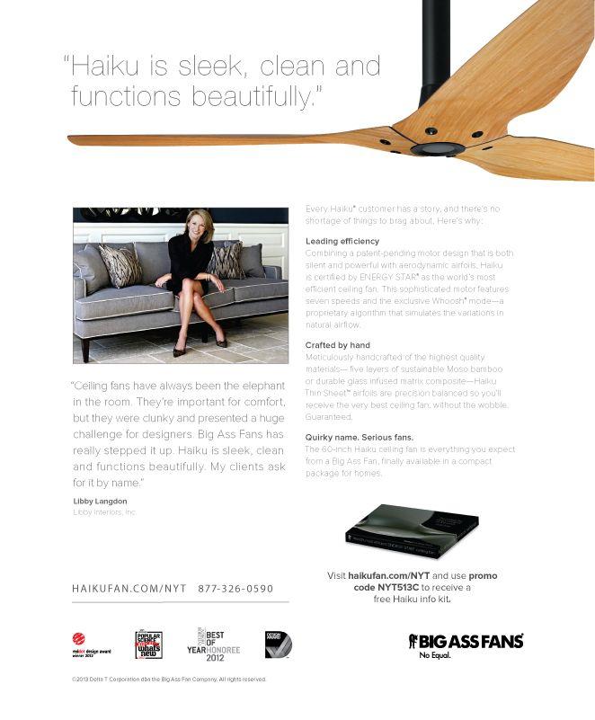 Our New York Times ad featuring Haiku and interior design guru @Libby Langdon. #bigassfans #libbylangdon