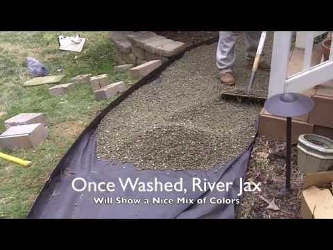 (172) Installing a River Rock Walking Path - YouTube #riverrocklandscaping