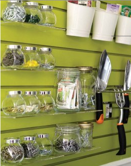 scrapbook wall storage | slat wall storage & slat wall storage | Pinterest | Storage jars Buckets and Jar