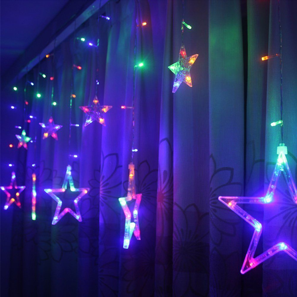 Curtain Light Fairy Star Lights 12 Stars 138leds Linkable Window Icicle String Wedding For Christmas Party Home Kitchen