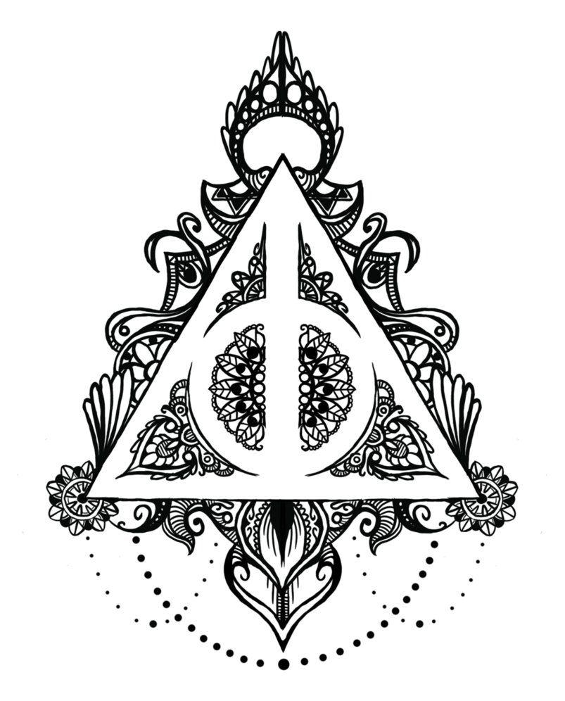 Deathly Hallows Mandala By Midlifebeef51 Deviantart Com On Deviantart Harry Potter Coloring Pages Harry Potter Symbols Harry Potter Tattoos