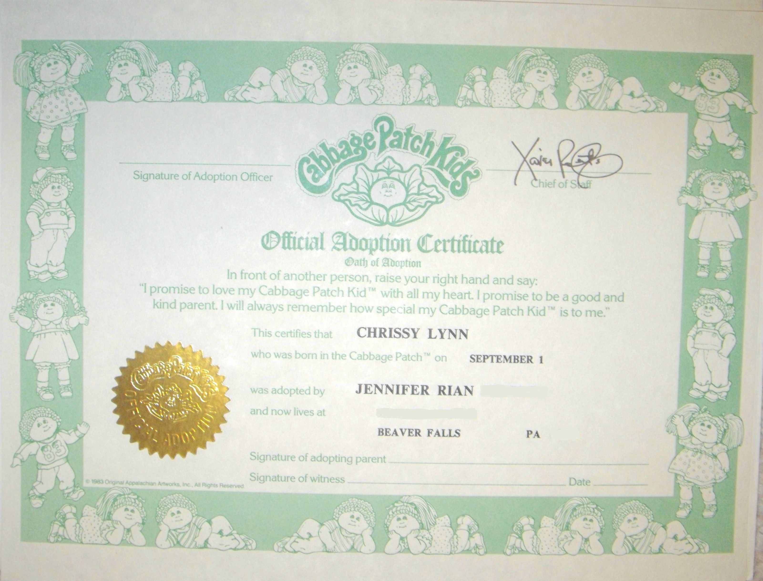 Cabbage Patch Doll Birth Certificate  Nostalgia