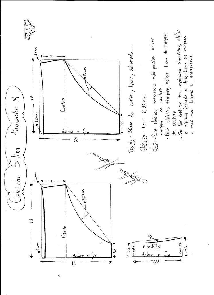 calcinha slim underware pinterest CDI Diagram esquema de modelagem de calcinha slim tamanho m