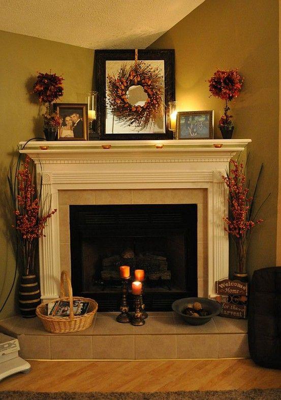 Mantle fall decorations Fireplaces / Mantels Pinterest Mantle
