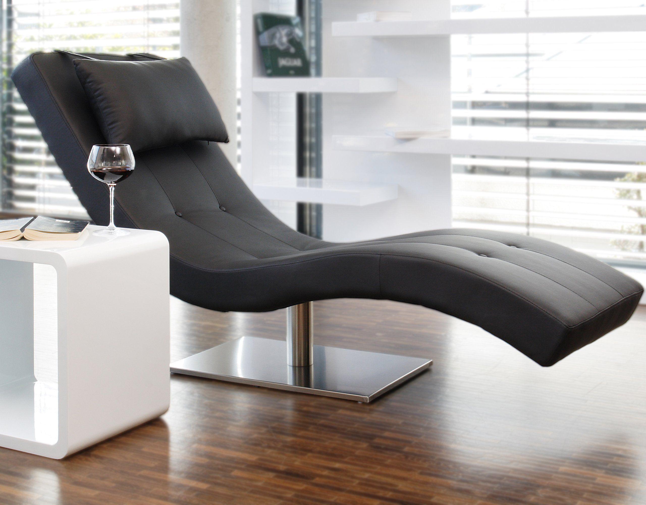 Designer-Liege Chaise-Longue aus Kunstleder schwarz mit