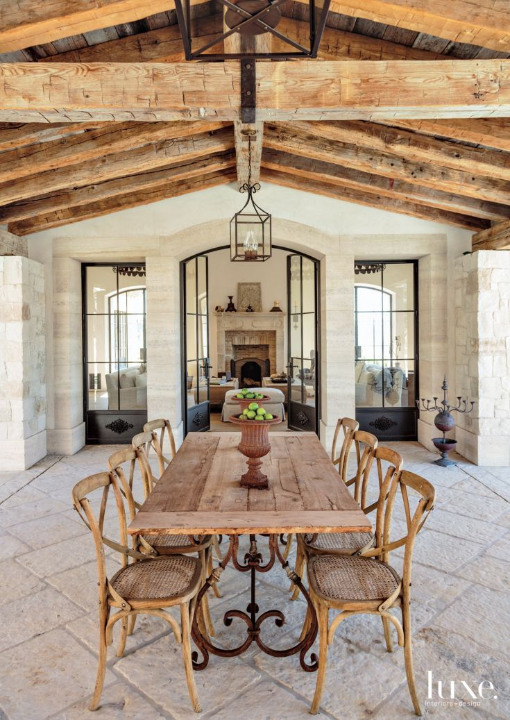 Traditional Neutral Covered Outdoor Dining Room With Exposed Wood Beams Outdoor Dining Room Rustic Home Design Farmhouse Dining