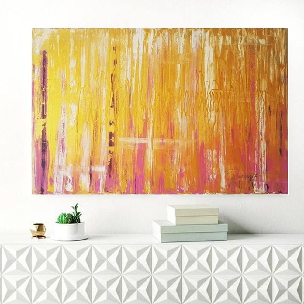 Abstract oil painting large original handmade canvas gold and pink ...