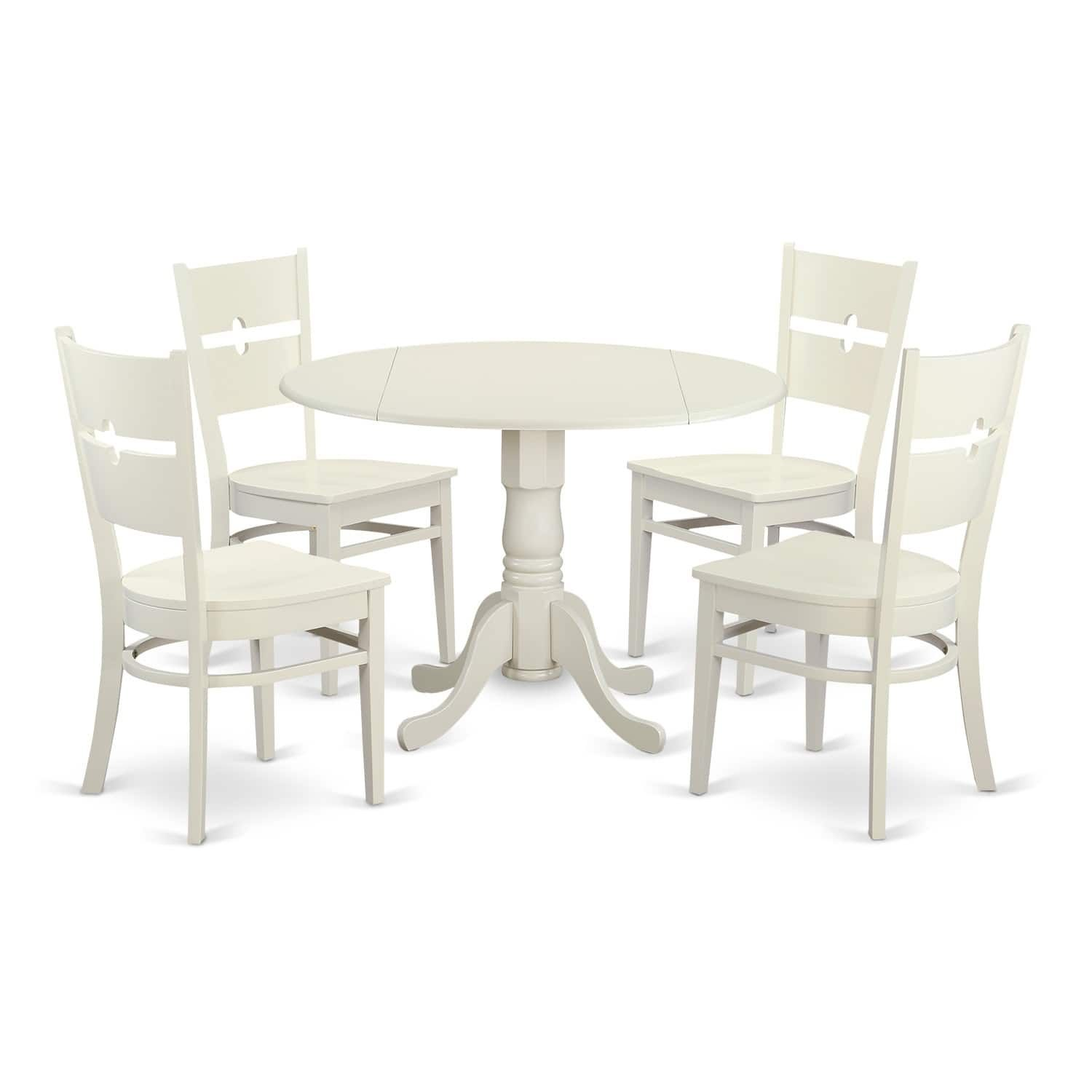 DLRO5-W 5 Pc Kitchen set for 4-Dining Table and 4 Kitchen Chairs ...