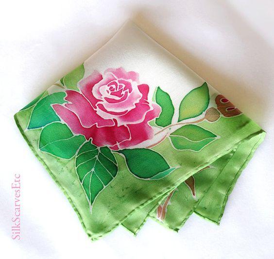 Pink Roses Silk Handkerchief Hand Painted Silk By Silkscarvesetc 25 00 Hand Painted Silk Silk Painting Silk Scarf Painting