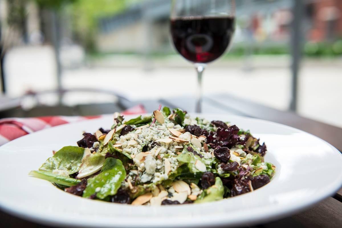 Pi Bada Bing Salad – field greens, toasted almonds, gorgonzola cheese, dried bing cherries, with raspberry vinaigrette.