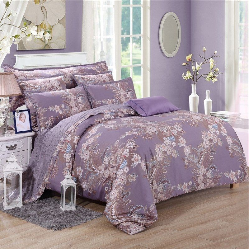 Vintage Pastel Purple Brown And Beige Wildflower Print Rustic Chic 100 Egyptian Cotton Full Purple Bedding Purple Bedding Sets Luxury Bedding Master Bedroom
