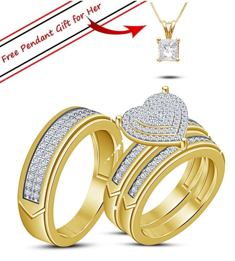 K yellow gold fn diamond trio his her bridal set engagement ring