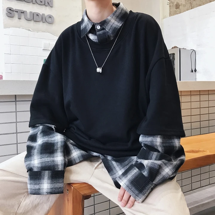 [Korean Style] Trendy Two-piece Layered Shirt