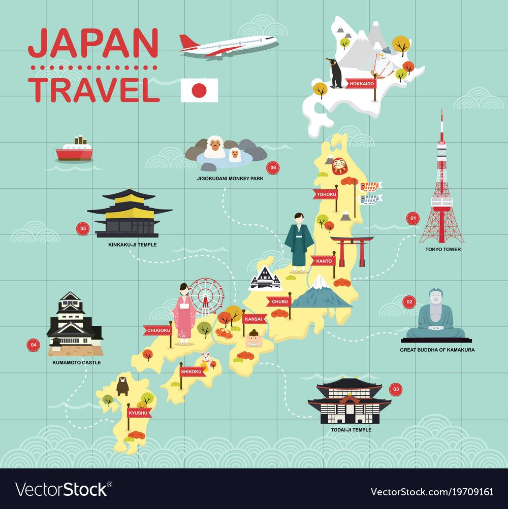 Japan Landmark Icons Map For Traveling Download A Free Preview Or High Quality Adobe Illustrator Ai Eps Pdf And High Japan Map Japan Jigokudani Monkey Park