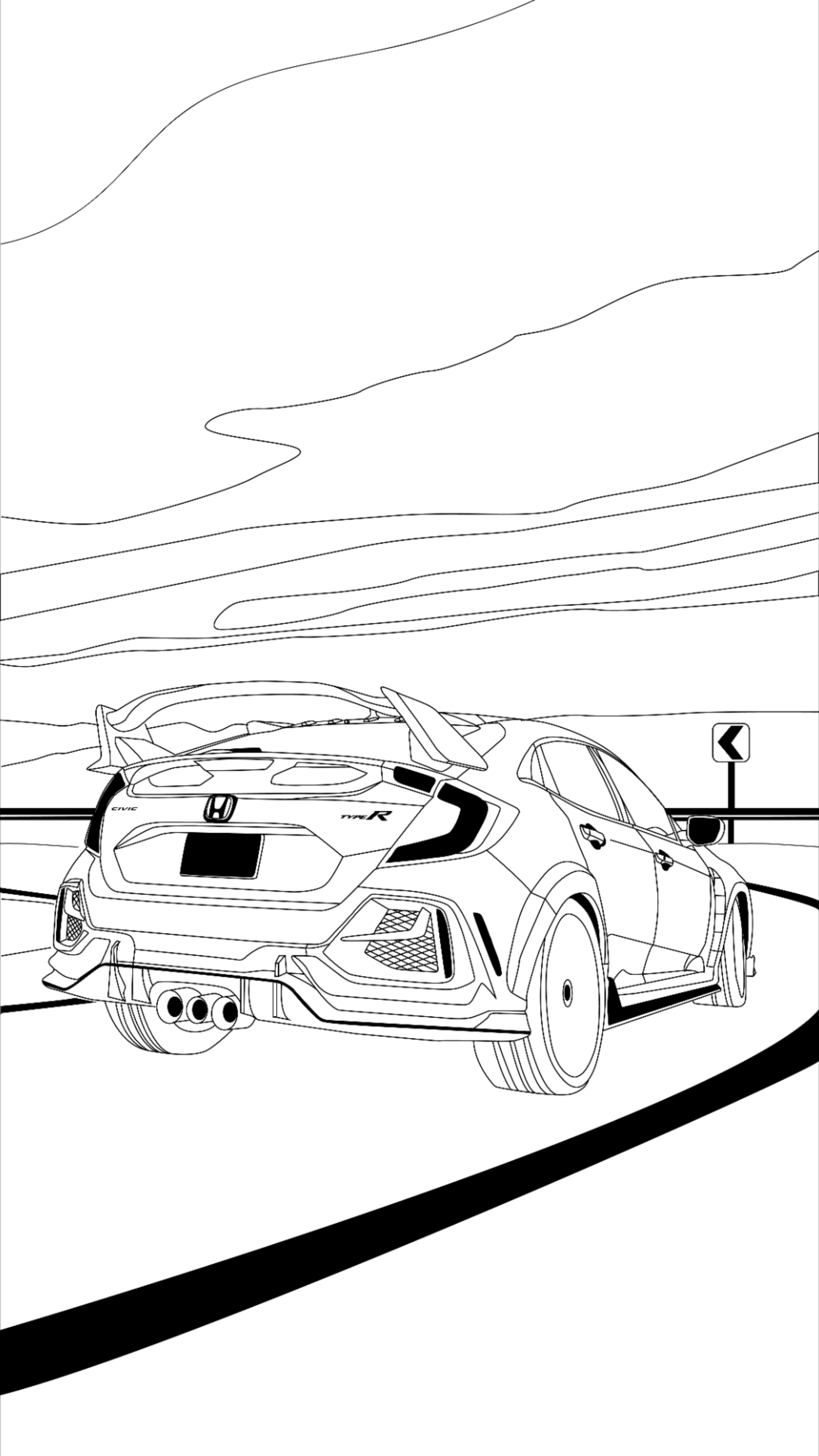 Honda Civic Coloring Pages : honda, civic, coloring, pages, Honda, Coloring, Imagination, Drawing,, Honda,