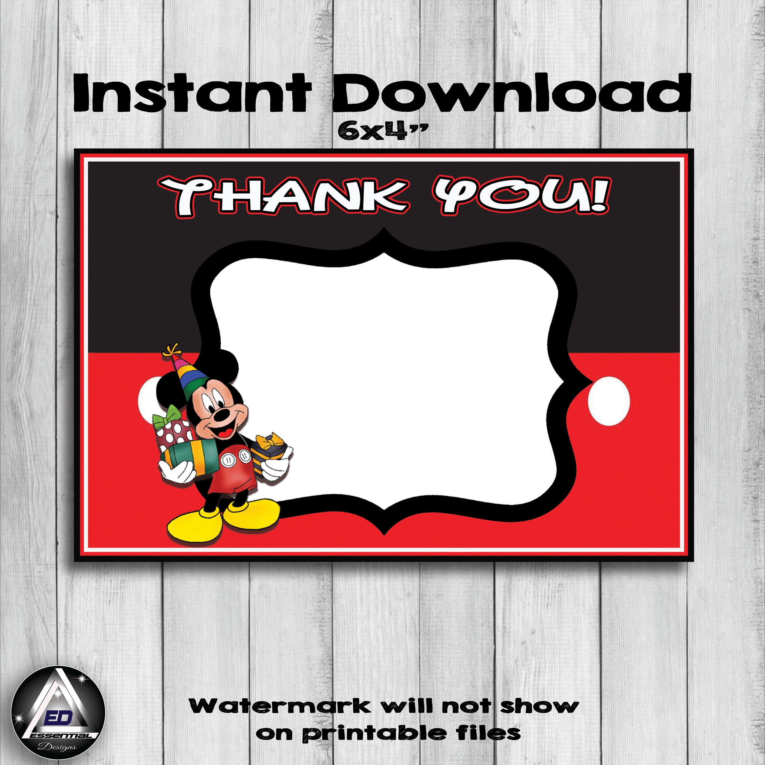 Mickey Mouse Thank You Card Mickey Mouse Birthday Party Disney