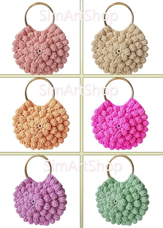 Ulla Johnson Lia Tote Inspired Crochet Bag with Multi Color Options,Metal Hoop Handles with Three Color Options,Free EXPRESS Shipping