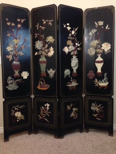Antique Chinese Screen Divider 4 Panel Leather Jade Stone Black