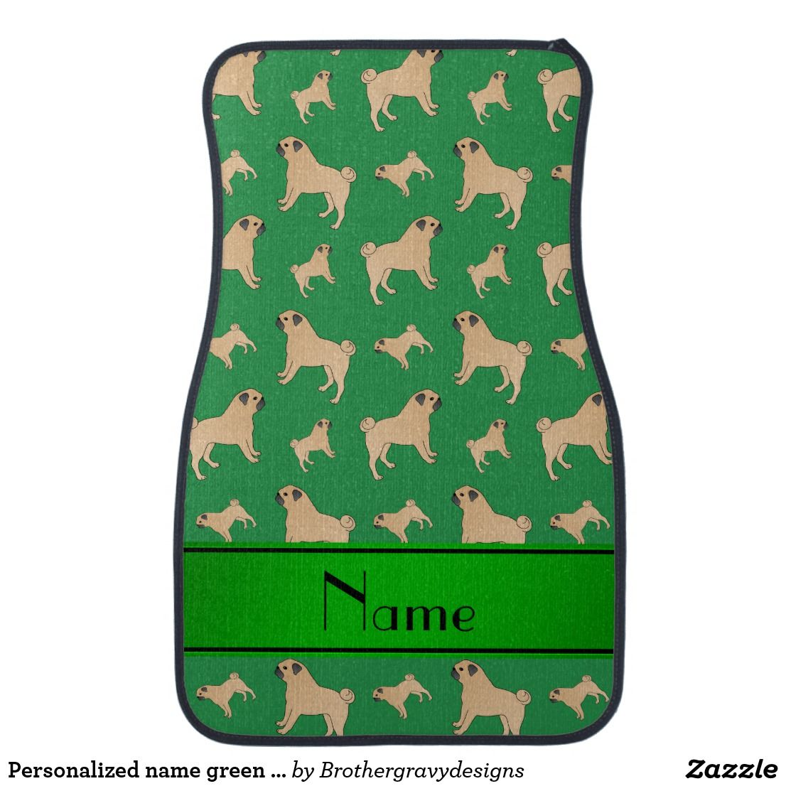 Personalized name green Pug dogs Car Mat
