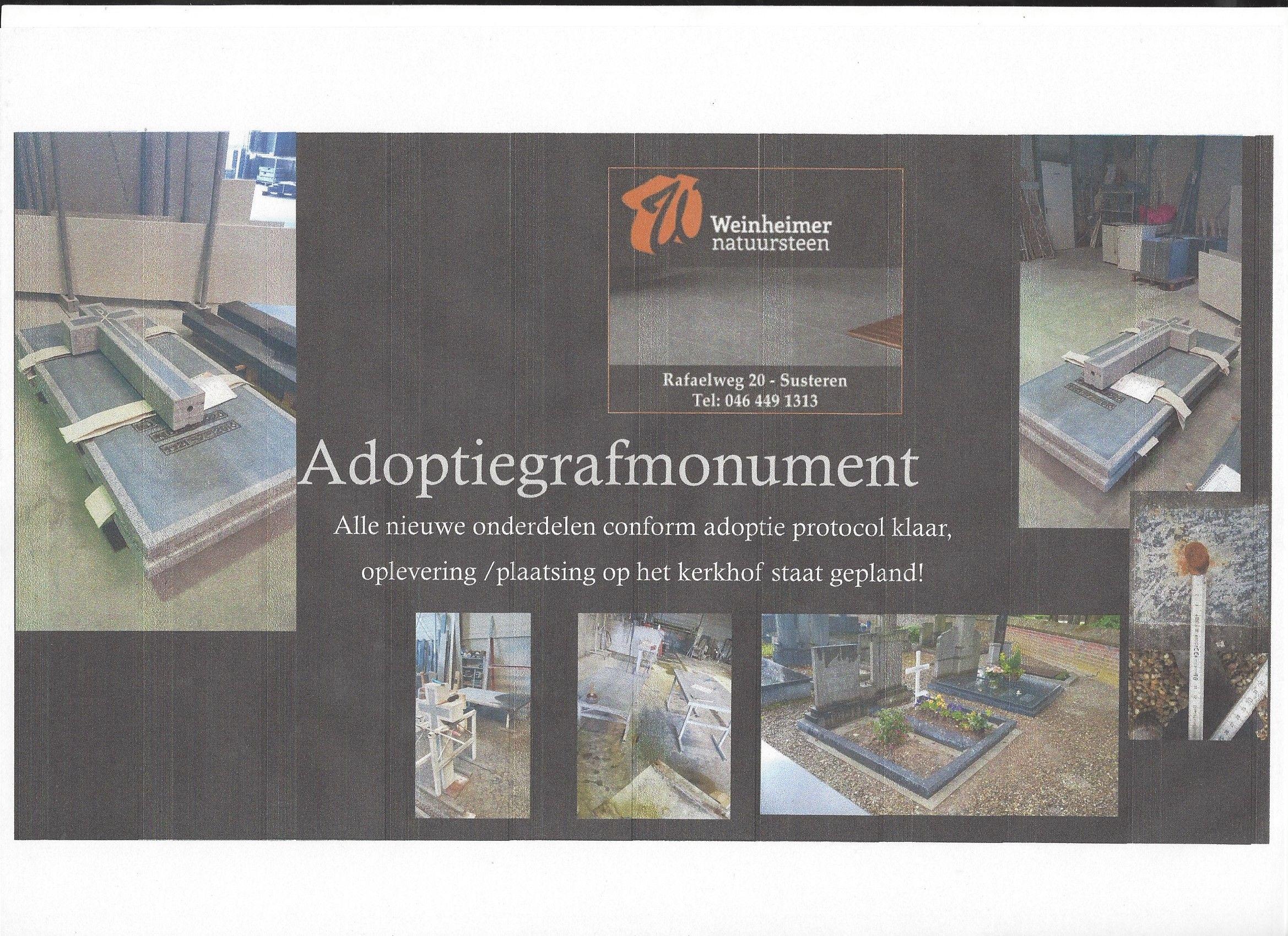 Resterende nieuwe onderdelen Adoptie grafmonument klaar voor levering plaatsing op het kerkhof door Weinheimer natuursteen
