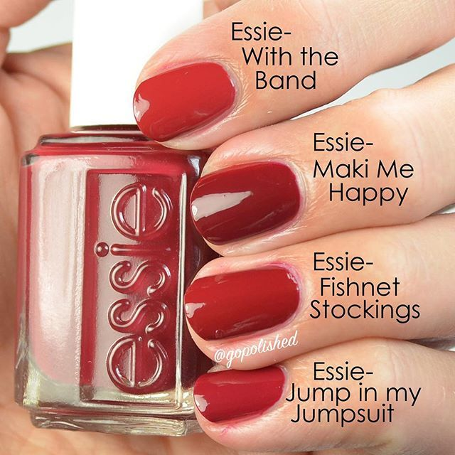 Have you seen my comparisons for the new Essie collection? Link to blog in my profile. In my post I don't compare Maki Me Happy to other true red Essie's because MMH isn't a true red, it's really more of a burgundy red. I had a few requests to show them though. So here they are. MMH is much richer and has stronger purple undertones than other Essie reds I have. So yeah, I needed it It is the same as an OPI polish, so check the blog for that. #makimehappy
