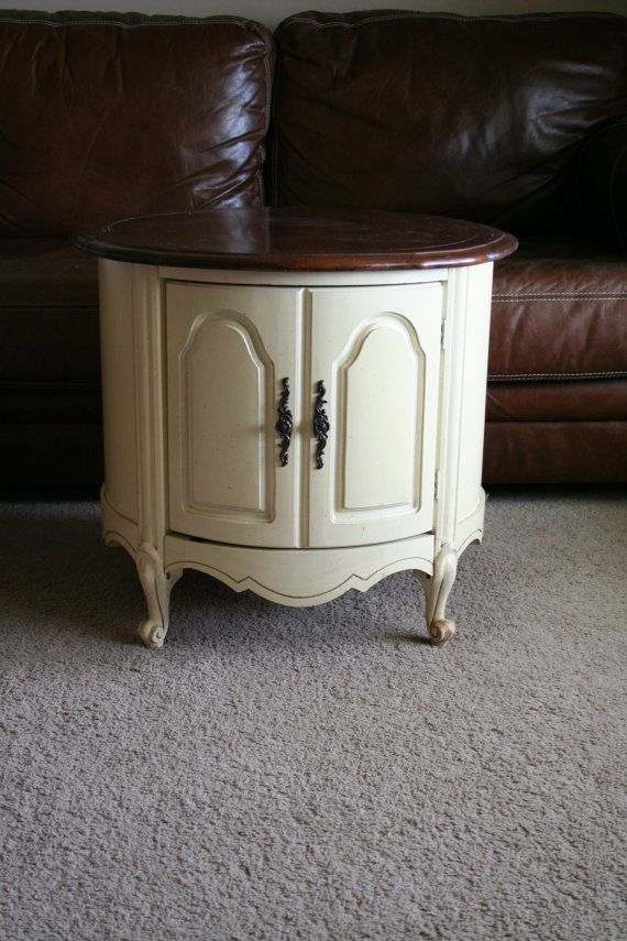 French Provincial End Table Round With Interior By Turtlehillshop