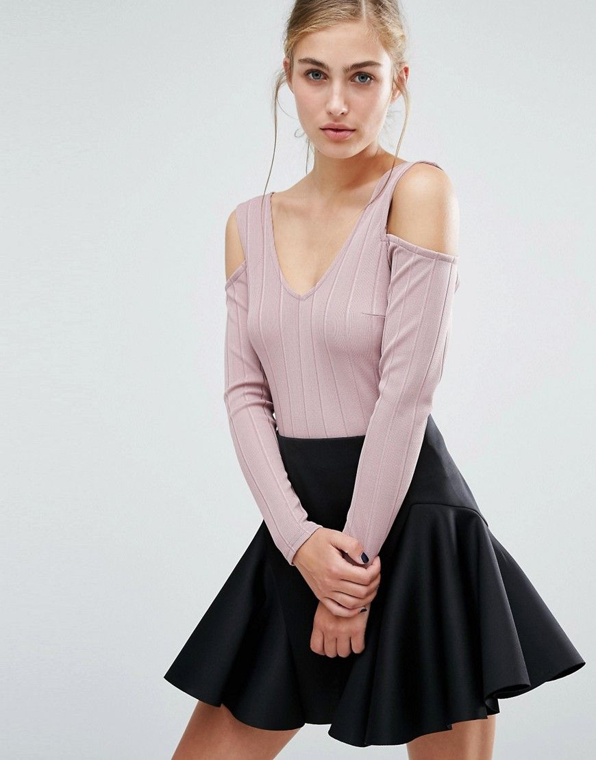 6354b403cce Look stunning with this Miss Selfridge Ribbed Cold Shoulder Crop Top - Pink  - http: