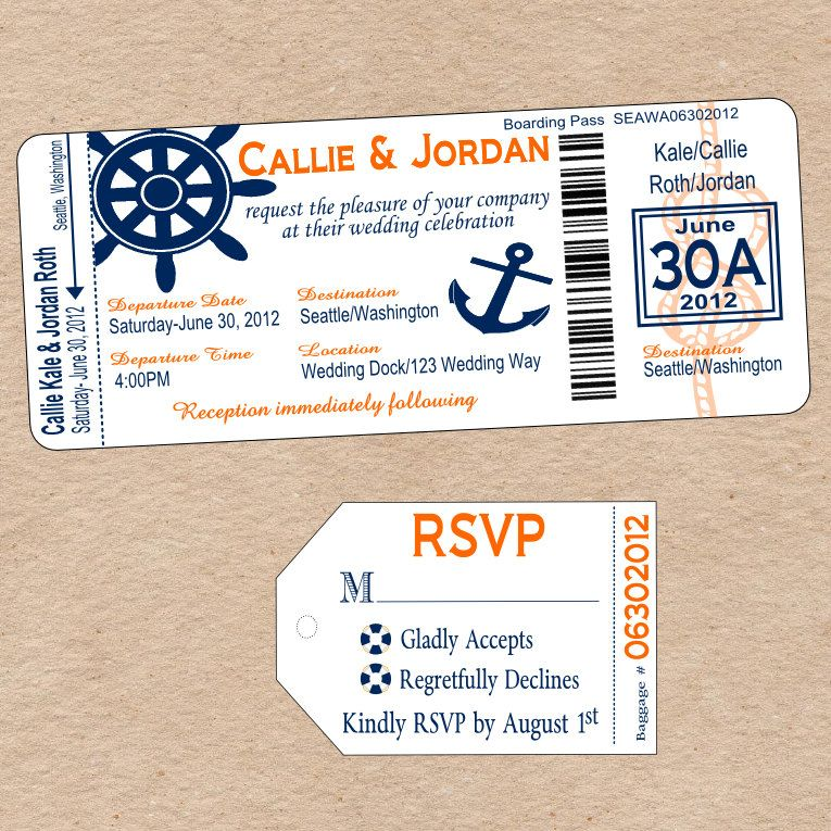 Nautical Boarding Pass Invitation \ matching Luggage Tag Response - best of invitation template boarding pass