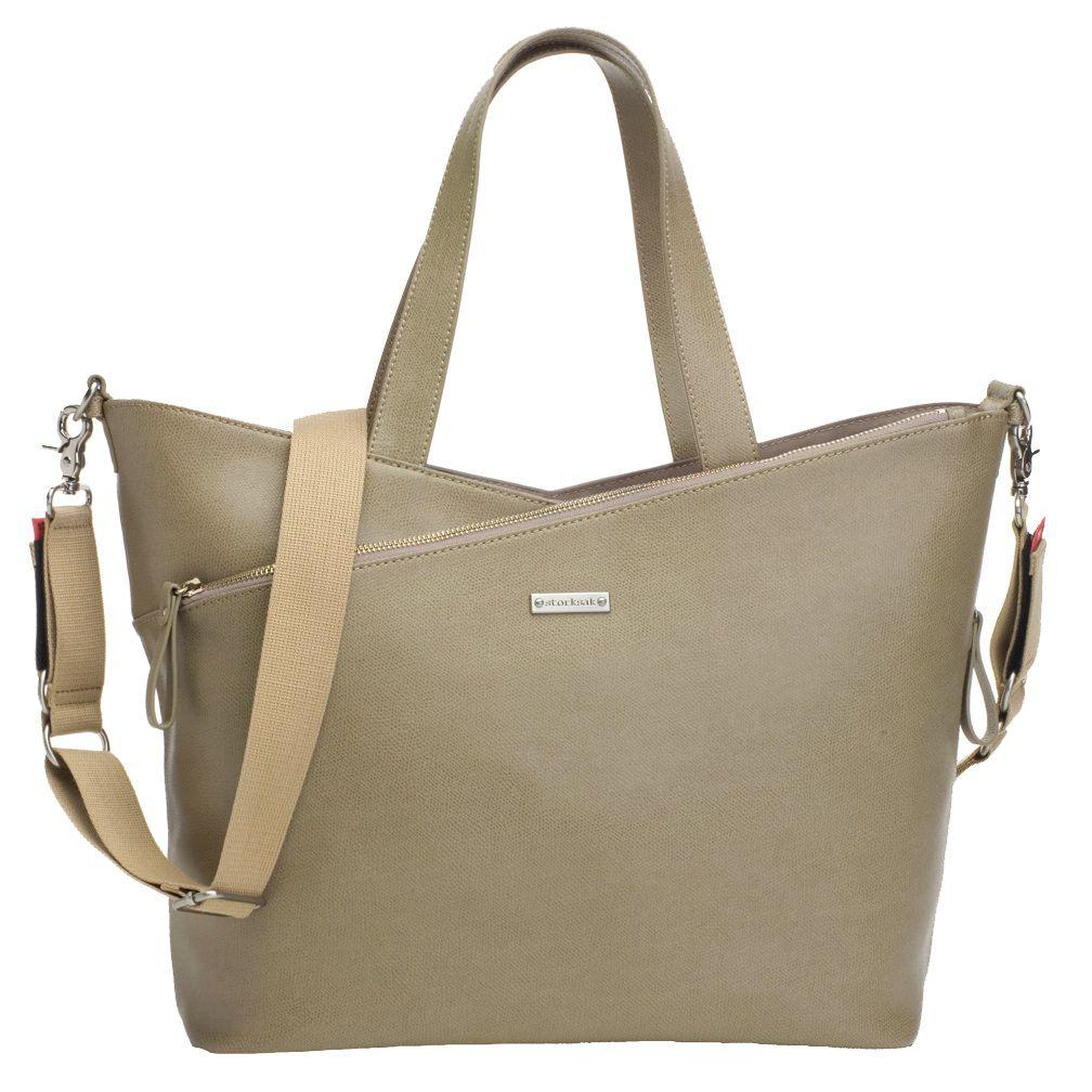 Storksak Lucinda Tote Diaper Bag Taupe Textured Leather Designer Bags