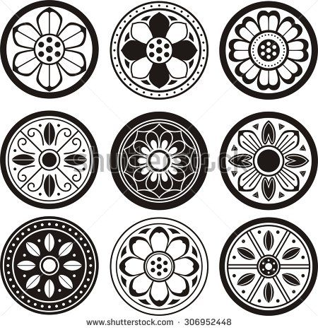 korean traditional symbol vector image korean tradition flower pattern convex tiles cds. Black Bedroom Furniture Sets. Home Design Ideas