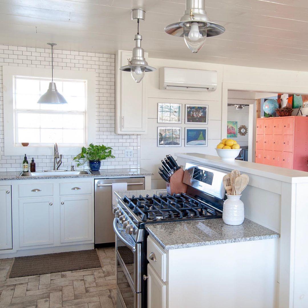 classic white modern farmhouse kitchen with subway tiles shiplap and chevron brick tile floor on farmhouse kitchen tile floor id=69225