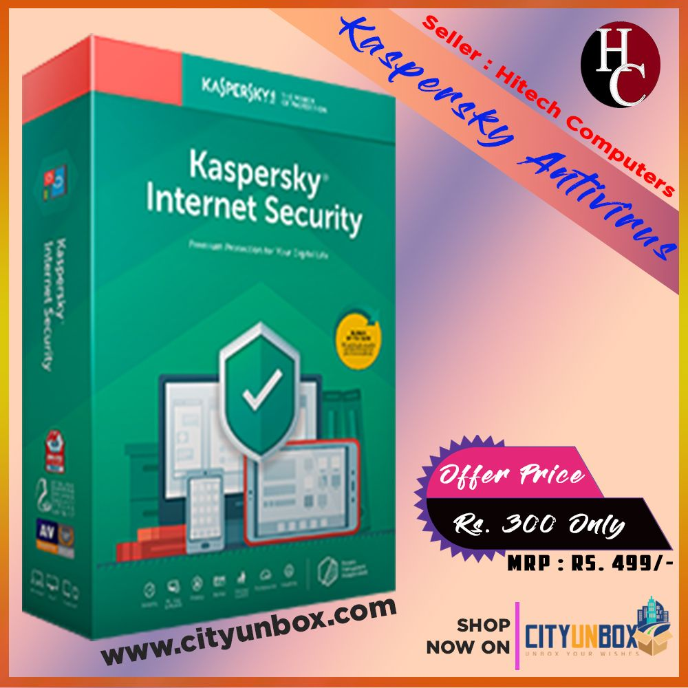 BUY in Rs. 300 only, Kaspersky Antivirus, 1 User / 1 Year
