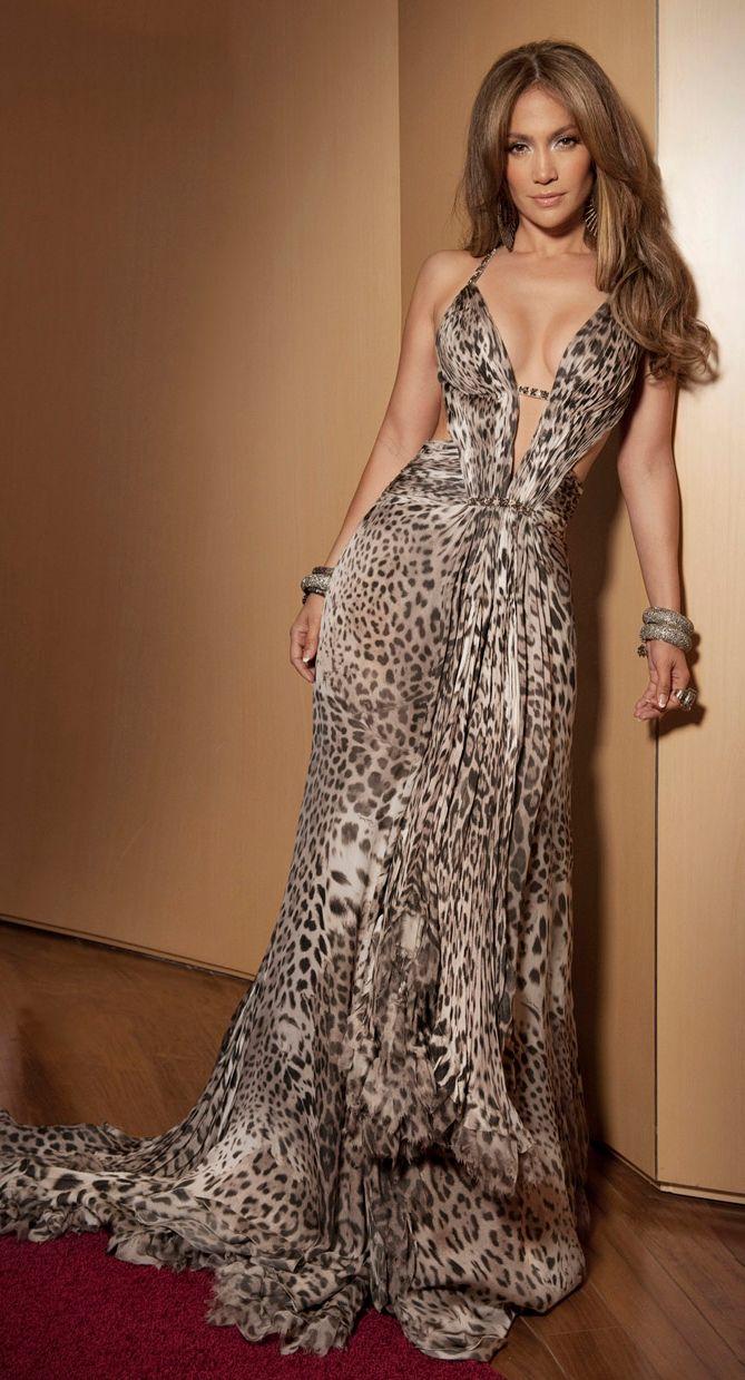 Jennifer Lopez In Leopard Print Chiffon Roberto Cavalli Dress